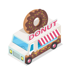 Donut trolley in isometric projection doughnut vector