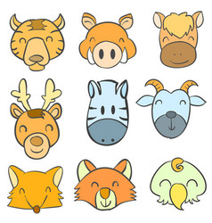 doodle of animal funny head style vector image vector image