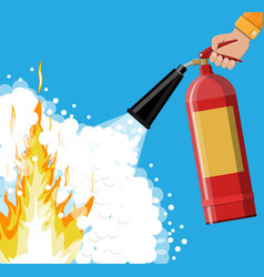 fire extinguisher in hand with foam vector image