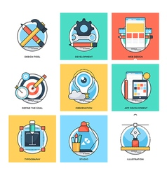 Flat Color Line Design Concepts Icons 23 vector image