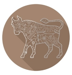 Flat icon of zodiac sign Taurus vector image