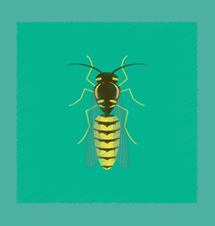 Flat shading style insect wasp vector
