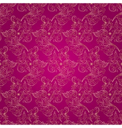 Floral vintage seamless pattern on pink background vector image vector image