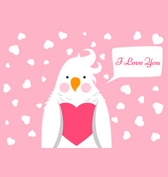 funny cute cartoon parrot love valentinesday vector image vector image