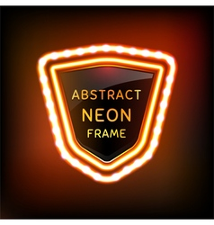 Glowing neon frame with light bulbs vector image vector image