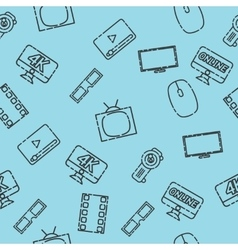 Hand drawn online cinema pattern vector