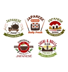 Japanese cuisine restaurant and sushi icons vector image
