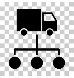 Lorry distribution scheme icon vector