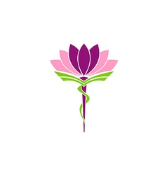lotus flower medicine pharmacy beauty logo vector image