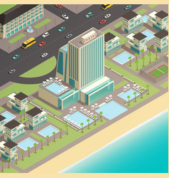 multistory building of luxury hotel in coast vector image vector image