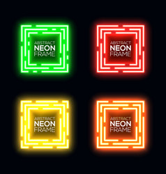 Neon light square set shining rectangle frame vector