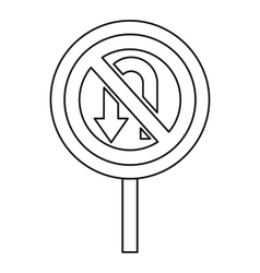 No U turn traffic sign icon outline style vector image vector image
