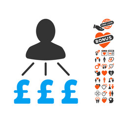Person pound expenses icon with lovely bonus vector