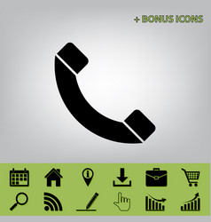 Phone sign black icon at vector