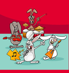 rabbits rock musicians band cartoon vector image vector image