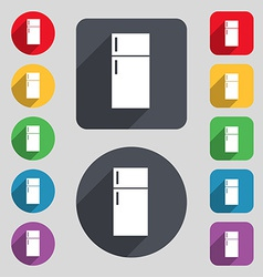 Refrigerator icon sign A set of 12 colored buttons vector image