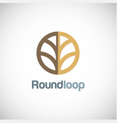 round abstract geometry company logo vector image