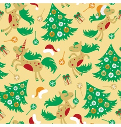 seamless pattern cute horse for Christmas vector image vector image