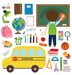 Set of isolated school bus and school supplies vector