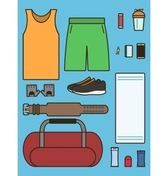 Set of required accessories in gym vector