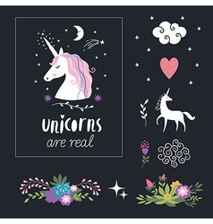 Unicorn with flowers fantasy elements vector
