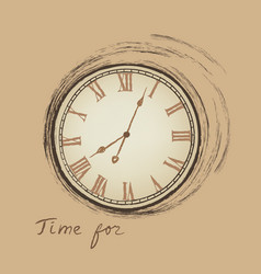 Vintage watch dial isolated engraving time for vector