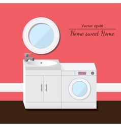Washing and sink 3d interior Pink background vector image