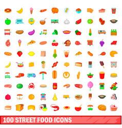 100 street food icons set cartoon style vector