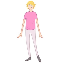 Blond cheerful guy in pink shirt vector