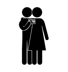 Silhouette couple with photographic camera vector