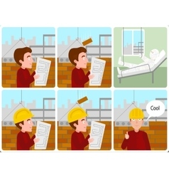 Accident on a building site cartoon vector