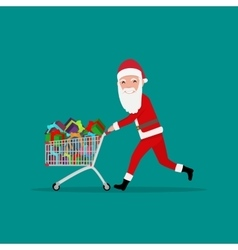 cartoon Santa running with shopping trolley vector image