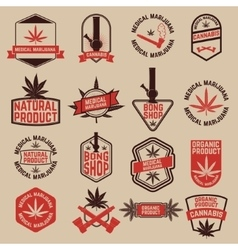 Set of cannabis labels medical marijuana bong vector