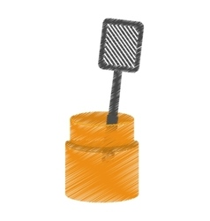 Drawing grilled spatula container utensil kitchen vector