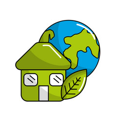 green house with leaf and earth planet vector image