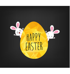 happy easter greeting card in low poly triangle vector image