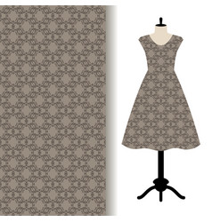 Women dress fabric with grey pattern vector