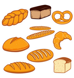 Set of bread  fresh bakery design vector