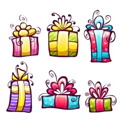 Set of brightly gift cartoon box vector