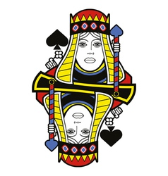 Stylized Queen of Spades no card vector image