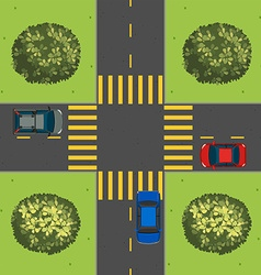 Aerial view of cars at intersection vector