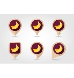 Banana mapping pins icons vector