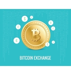 Bitcoin exchange with currency icons vector