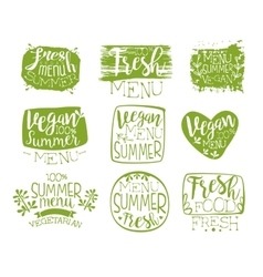 Vegan menu vintage stamp collection vector