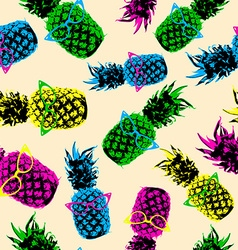 Retro hipster summer pattern with color pineapple vector