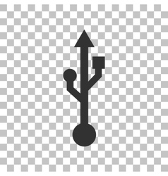 Usb sign  dark gray icon on vector