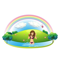A sexy lady in bikini at the beach vector image