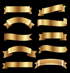 Big golden ribbons set vector