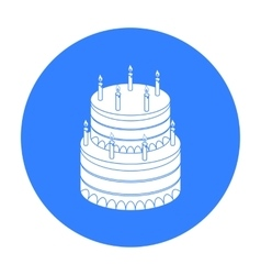 Birthday cake icon in black style isolated on vector