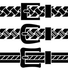 buckle braided belt black symbols vector image